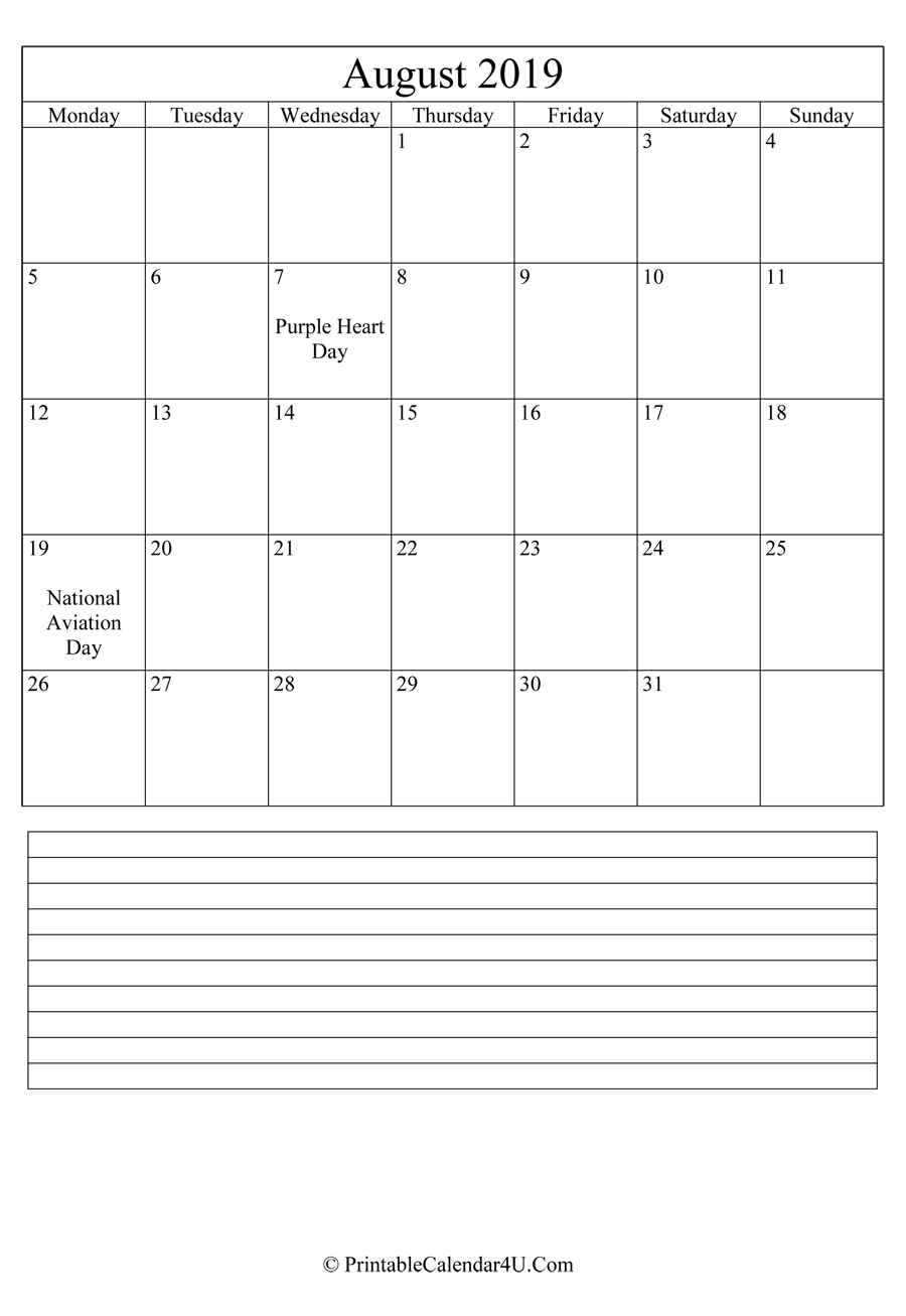 printable august calendar 2019 with notes in portrait layout