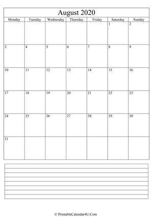 printable august calendar 2020 with notes (portrait layout)