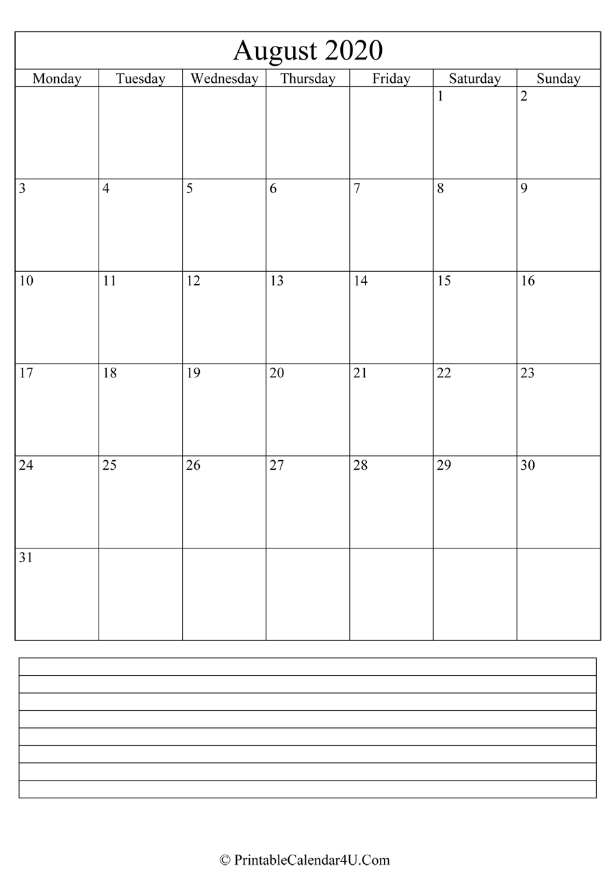 printable august calendar 2020 with notes in portrait layout