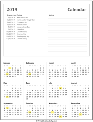 printable calendar 2019 with holidays and notes
