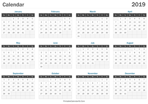 printable calendar 2019 landscape layout