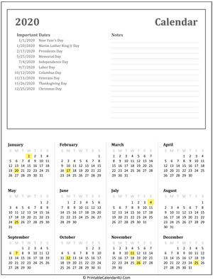 printable calendar 2020 with holidays and notes
