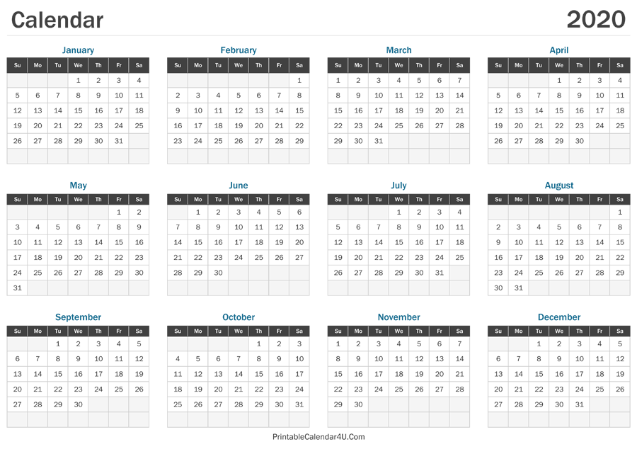 printable calendar 2020 landscape layout