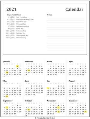 printable calendar 2021 with holidays and notes