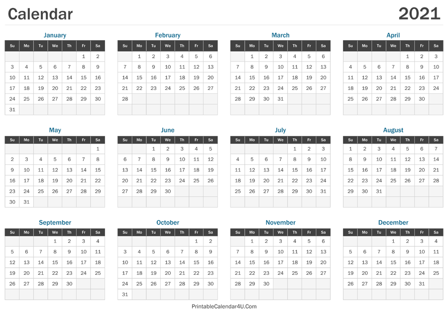 Free 2021 Yearly Calender Template : Fillable Calendar ...