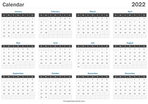 printable calendar 2022 landscape layout