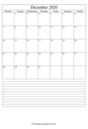 printable december calendar 2020 with notes (portrait layout)