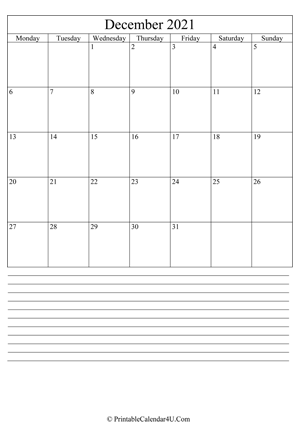 printable december calendar 2021 with notes (portrait layout)