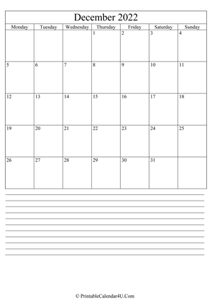 printable december calendar 2022 with notes