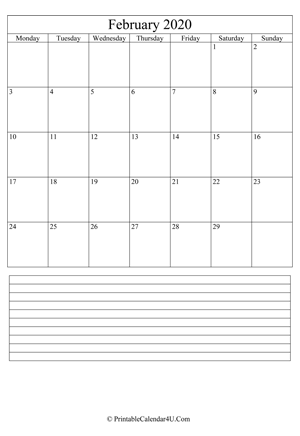 printable february calendar 2020 with notes (portrait layout)