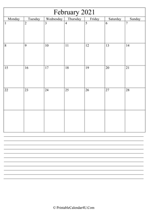 printable february calendar 2021 with notes (portrait layout)