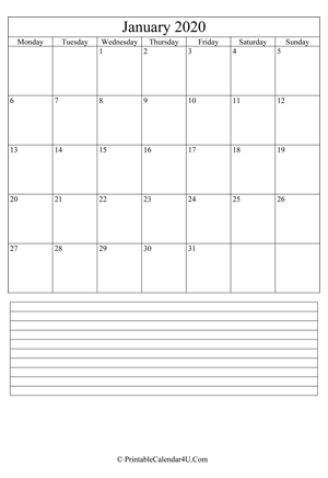 printable january calendar 2020 with notes (portrait layout)