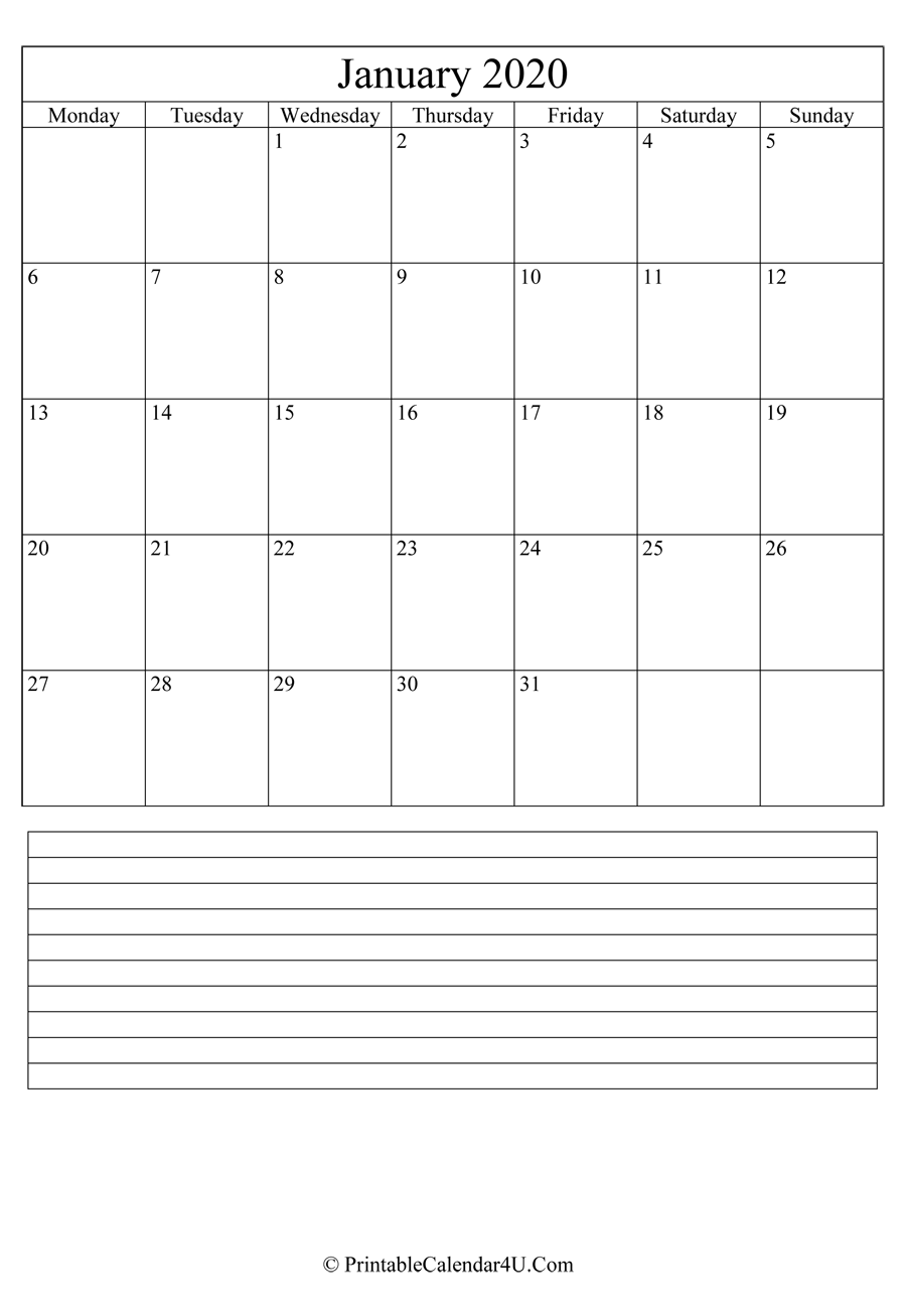 printable january calendar 2020 with notes  portrait