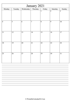 printable january calendar 2021 with notes (portrait layout)