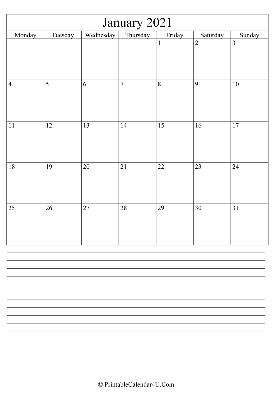 printable january calendar 2021 with notes in portrait layout