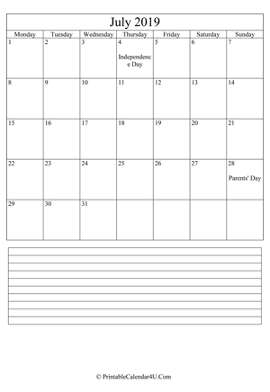 printable july calendar 2019 with notes