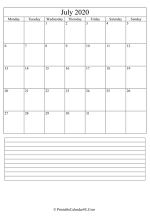 printable july calendar 2020 with notes (portrait layout)