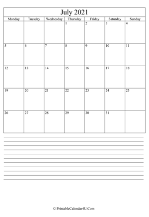 printable july calendar 2021 with notes (portrait layout)