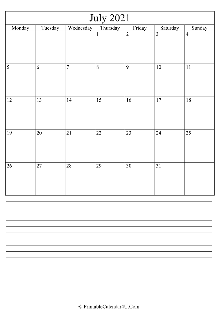 printable july calendar 2021 with notes in portrait layout