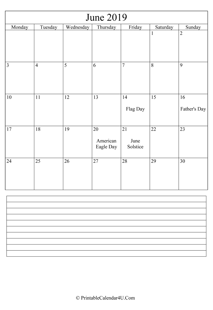 printable june calendar 2019 with notes in portrait layout
