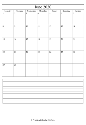 printable june calendar 2020 with notes (portrait layout)