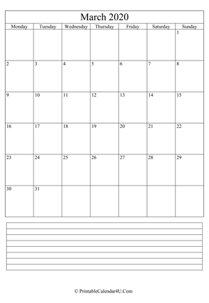 printable march calendar 2020 with notes (portrait layout)
