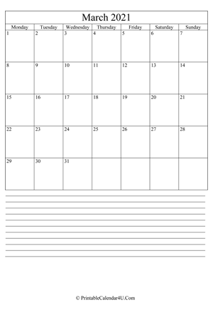 printable march calendar 2021 with notes (portrait layout)