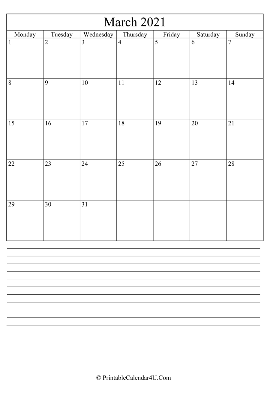 printable march calendar 2021 with notes in portrait layout