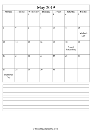 printable may calendar 2019 with notes