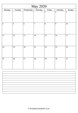 printable may calendar 2020 with notes (portrait layout)