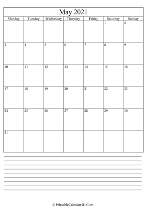 printable may calendar 2021 with notes (portrait layout)