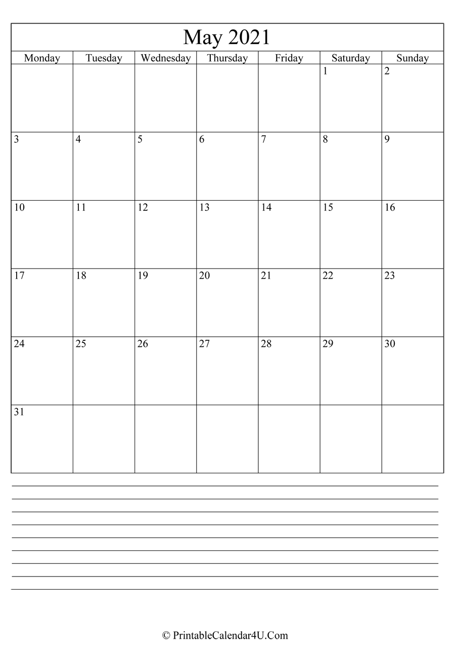 printable may calendar 2021 with notes in portrait layout