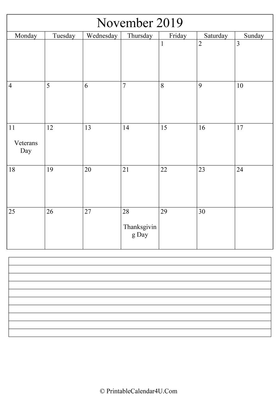 image regarding Printable November Calendar referred to as Printable November Calendar 2019 with notes (Portrait)