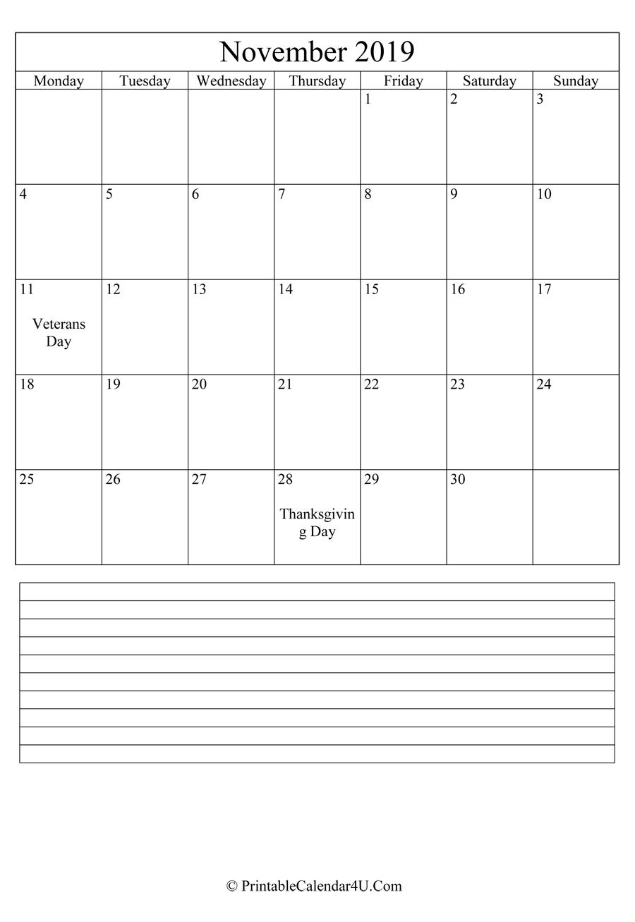 graphic regarding Printable November Calendar named Printable November Calendar 2019 with notes (Portrait)