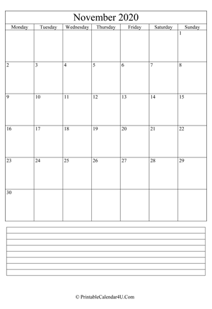 printable november calendar 2020 with notes (portrait layout)