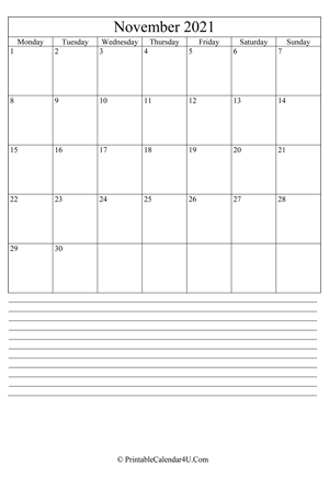 printable november calendar 2021 with notes (portrait layout)