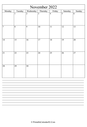 printable november calendar 2022 with notes (portrait layout)