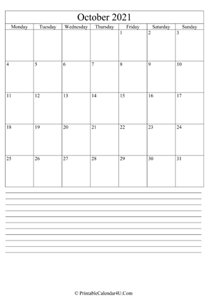 printable october calendar 2021 with notes (portrait layout)
