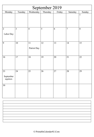 printable september calendar 2019 with notes (portrait layout)