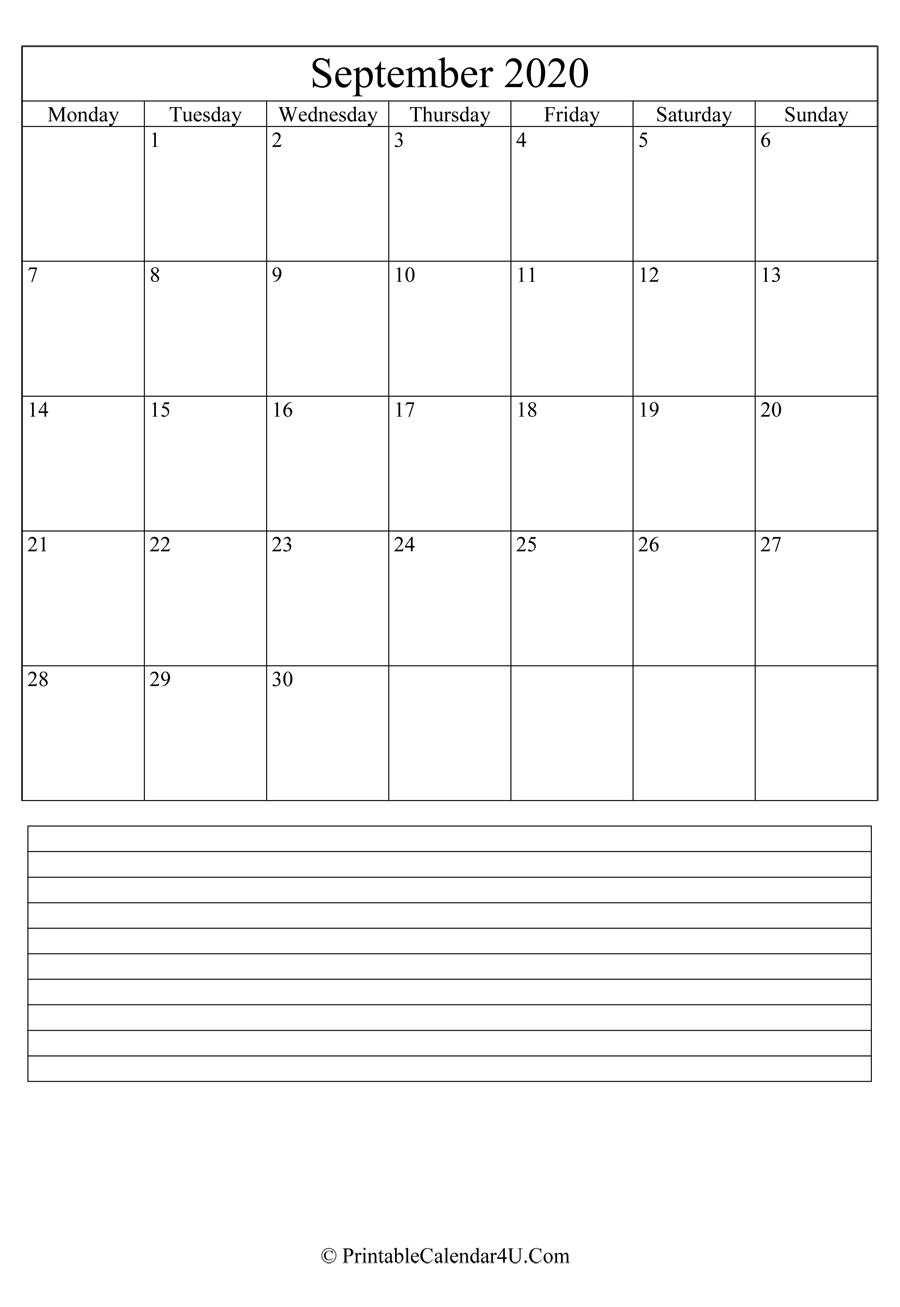 printable september calendar 2020 with notes in portrait layout