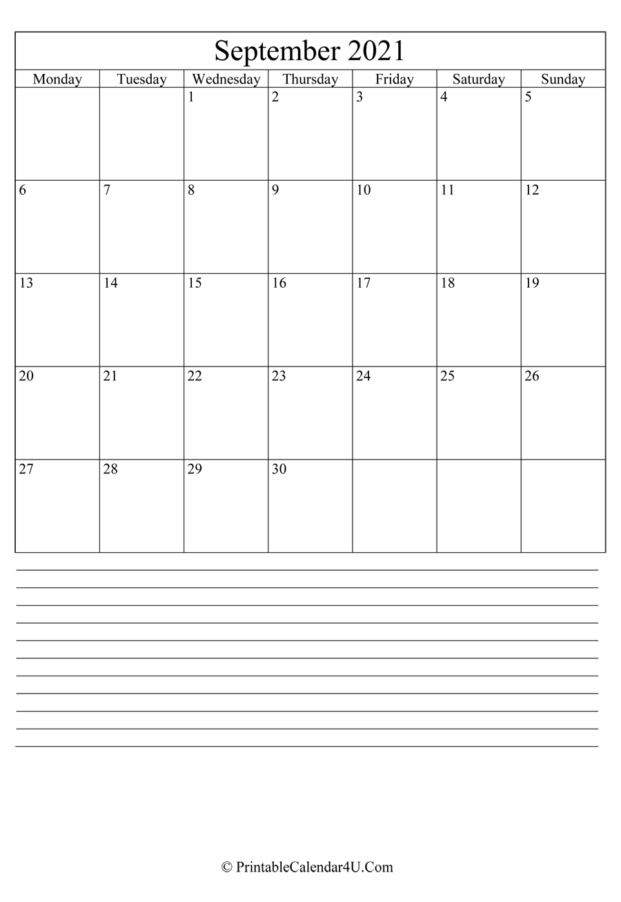 printable september calendar 2021 with notes in portrait layout