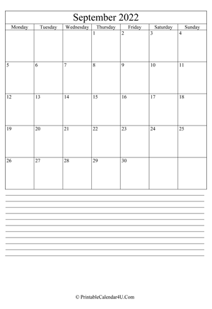printable september calendar 2022 with notes