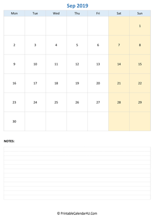 september 2019 calendar editable with notes vertical layout