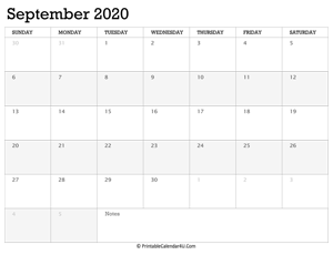 september 2020 calendar printable week starts on sunday