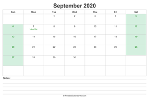 september 2020 calendar with us holidays and notes landscape layout