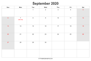 september 2020 calendar with us holidays highlighted landscape layout