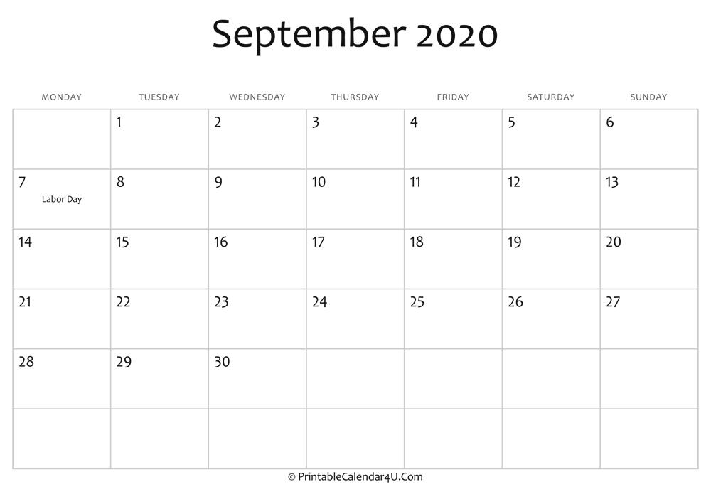 Editable Calendar September 2020 September 2020 Editable Calendar with Holidays