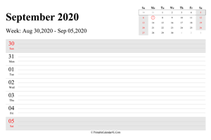 september 2020 weekly calendar with us holidays landscape layout
