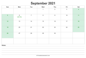 september 2021 calendar with us holidays and notes landscape layout