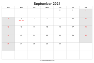 september 2021 calendar with us holidays highlighted landscape layout